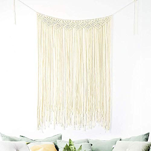 Large Macrame Wall Hanging Bohemian Woven Wall Decor Boho Tapestry Curtain for Wedding Living Room Bedroom Gallery Backdrop (width 90'' height 45 '')