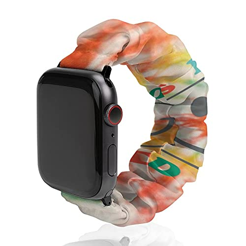 Tie Dye Compatible with Scrunchie Elastic Apple Watch Band 38mm 40mm 42mm 44mm for Women Girls Elastic Scrunchy Bands for iWatch Series 6 5 4 3 2 1