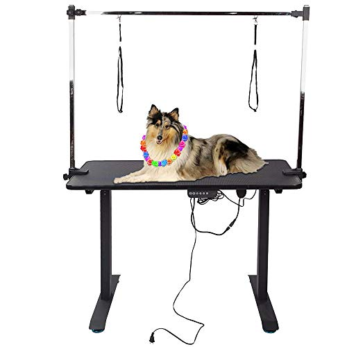 Electric 55 x 24 inch Dog Pet Grooming Table, Black Solid Table Top,...