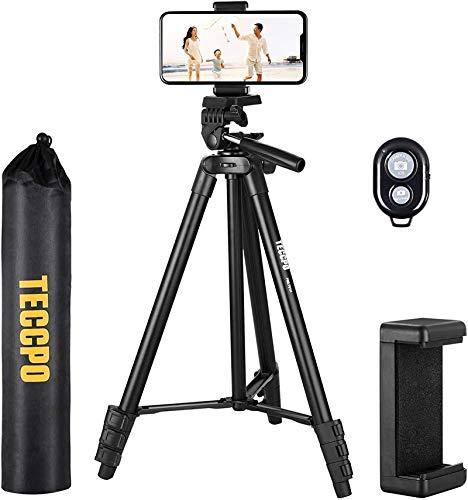 TECCPO Kompakt Leichtes Stativ(135cm/53 Zoll) mit Bluetooth und Universalclip, Stativständer für Kamera/Telefon/Video und Kreuzlinienlaser, 360 ° Schwenkkopf - PMLT01H