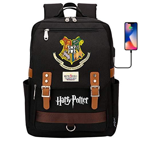 DDDWWW Hogwarts School Bag,Retro Sport Casual Traveling Backpack,Harry Potter Rucksack Computer Bag with USB Port 42CM/30CM/16CM Black