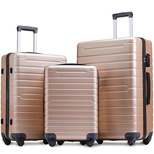 Flieks Luggage Set 3 Piece with TSA Lock Light Weight Hardside Spinner Suitcase (Champagne)