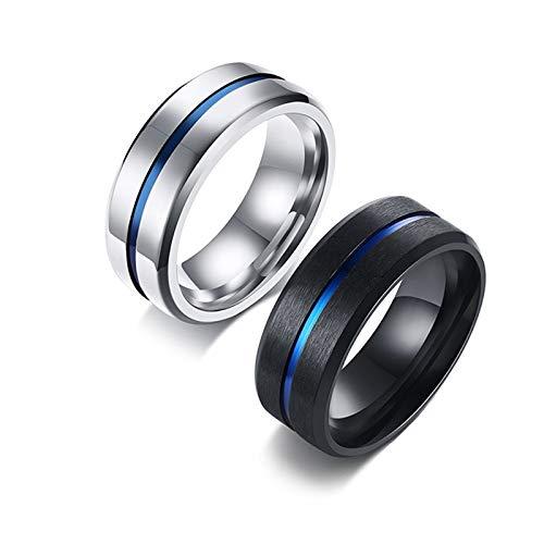 Bishilin Wolframcarbid Ringe Paarepreis Poliert und Matt 8 MM Verlobungsring und Ehering Silber Damen Gr.60 (19.1) + Herren Gr.62 (19.7)