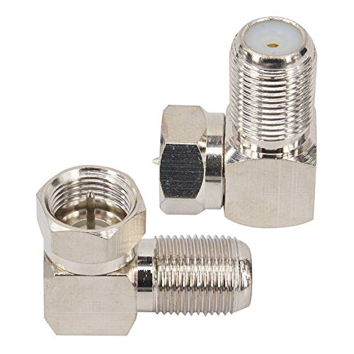Kaunosta F type Coaxial Cable Right Angle Connector Male to Female Quick Connector Adapter for Tight Corners and Flat Panel TV Mounting – 90 degree F Type Adapter for Coax Cable and Wall Plates 2 Pack