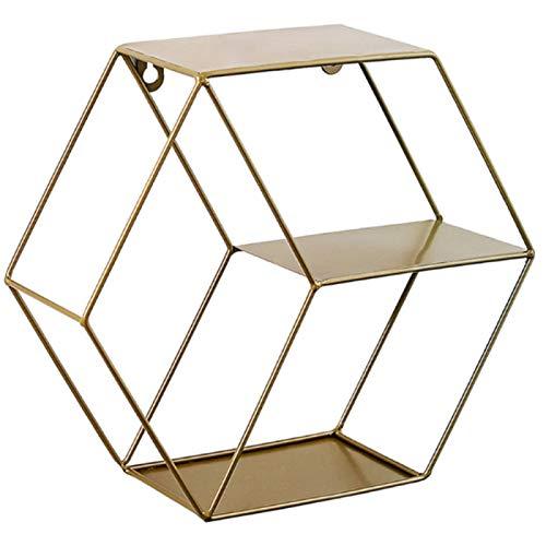 ZXY Estante de Pared Hexagonal de Hierro Forjado,Estante de Pared Hexagonal Geométrico,Figura Decorativa para Salón Dormitorio,Gold