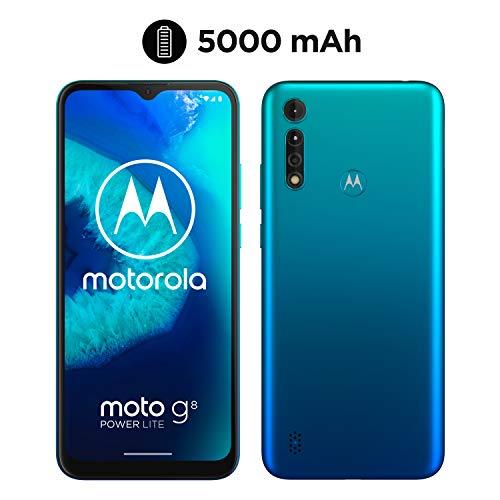 moto g8 power lite Dual-SIM Smartphone (6,5 Zoll-Max vision-HD+-Bildschirm, 16-MP-Hauptkamera, 64 GB/4 GB, Android 9) inkl. Schutzcover Türkisblau