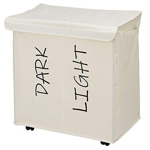 mDesign Wäschesortierer mit 2 Fächern und abnehmbarem Deckel – rollbarer Wäschekorb mit Griffen aus Polyester – faltbarer Wäschesammler mit Aufdruck für das Bad oder Schlafzimmer – creme