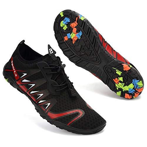 Zapatos de agua para hombre mujer de secado rápido piscina descalzo acuático deportes acuáticos surf playa canotaje buceo lago yoga zapatos calcetines, color Negro, talla 40 2/3 EU