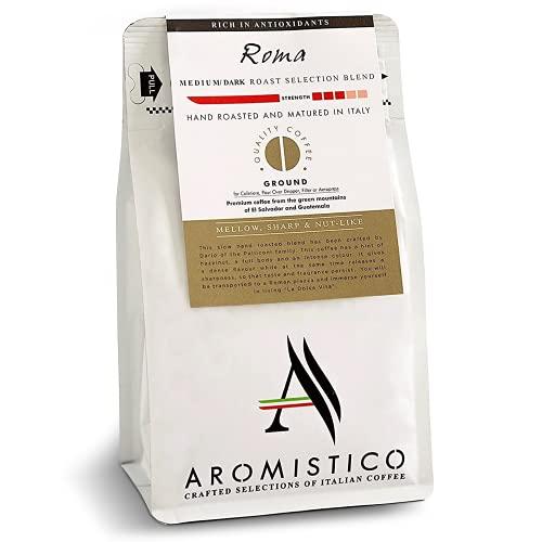 Aromistico - Italian Roma Blend Medium Roast Premium Coffee Beans, Best for Gourmet Hot or Cold Coffee Drink, Ground Coffee, 200g