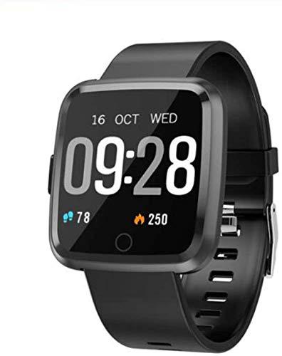 Reloj deportivo inteligente pulsera de color grande con podómetro, contador de calorías, monitor de sueño de ritmo cardíaco, para niños, mujeres y hombres, color negro