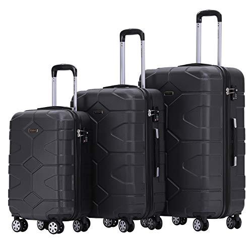 BEIBYE - TSA Schloß 2035 Hartschale Reisekoffer Koffer Handgepäck Trolley (Schwarz, Set)