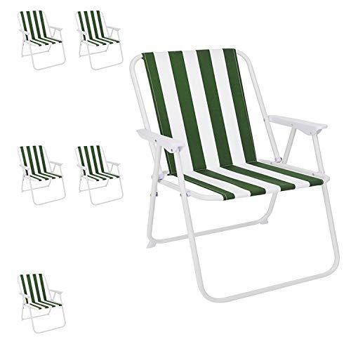 Mojawo set van 6 campingstoelen vouwstoel groen/wit gestreept regiestoel visstoel klapstoel visstoel