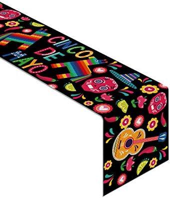 Rainlemon Linen Cinco de Mayo Table Runner Rustic Mexican Fiesta Home Dinning Room Decoration product image