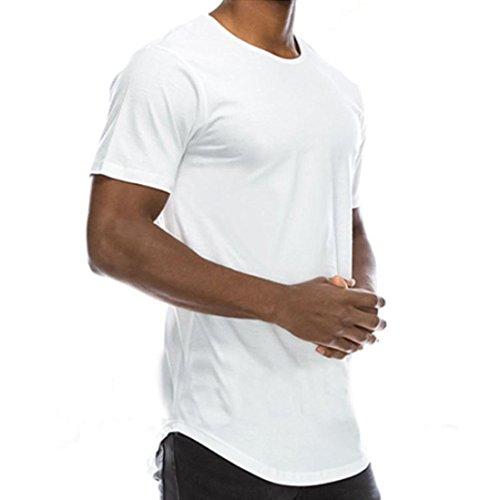 FNKDOR Summer Men's Cotton T-Shirt Basic Crew Neck Hip Hop Solid Slim T-shirt (blanc, M)