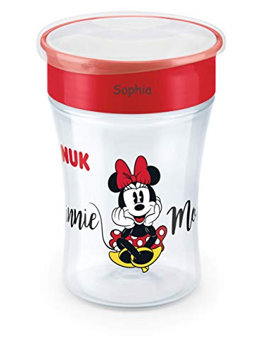 NUK Magic Cup, Trinklernbecher mit persönlicher Gravur, 230ml, ab 8 Monaten, Minnie Mouse, rot
