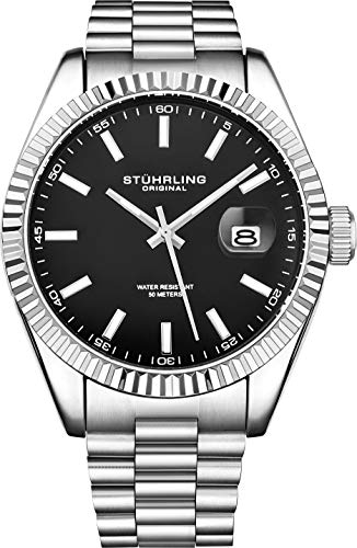 Stuhrling Original Watches for Men - Lineage Analog Dress Watch Mens Quartz Watch Watch Stainless Steel Bracelet Wrist Watch Luminous Hands and Markers - Mens Watch Collection