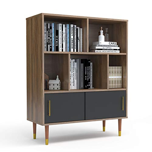 Mecor Retro Bookcase, 3-Tier Bookshelf Storage Shelves w/Sliding Door Cabinet and Open Shelves for Books, Photos, Decorations in Living Room Office Library, Walnut/Black
