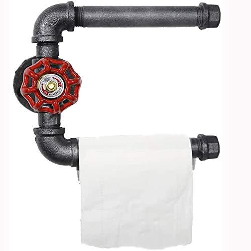 U/K Tenedor de Papel higiénico de tubería Industrial Vintage con Rollo de Doble Soporte, Estante de Toalla, Accesorios de baño, Plata Negra (Color : Black)