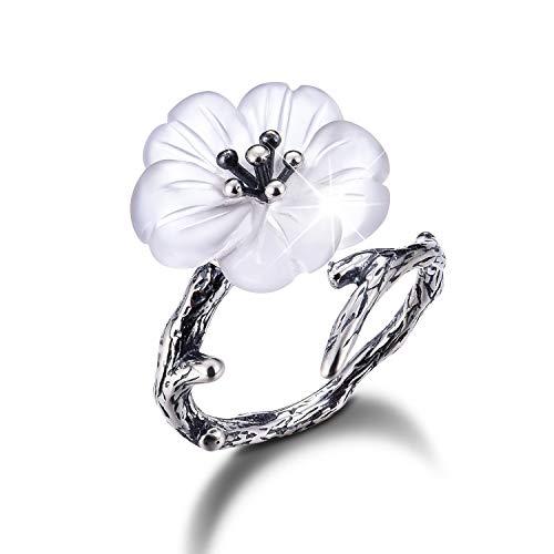 Lotus Fun S925 Sterling Silber Damen Ringe Blume im Regen Offener Ring Handgemachte Schmuck für Frauen und Mädchen. (Altes Silber)