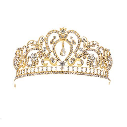 Fablcrew Strass Diadem Hochzeit Diadem Braut Brautjungfern Strass Kronen Stirnband Damen Schließe Haarspange Pin Silbernes Haarspange 1 Stück Gold