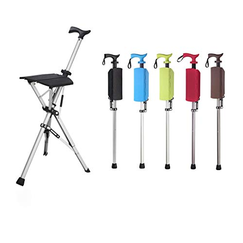 Combinación de Silla de bastón Plegable Multifuncional para Exteriores, bastón de Tres Patas bastón Plegable médico Ajustable portátil Taburete de Descanso al Aire Libre para Ancianos (Black)