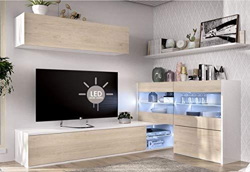 HABITMOBEL Mueble de Comedor Rinconero, Mueble Salon con Leds, Medidas: 180x260x41 cm de Fondo (Blanco Brillo)