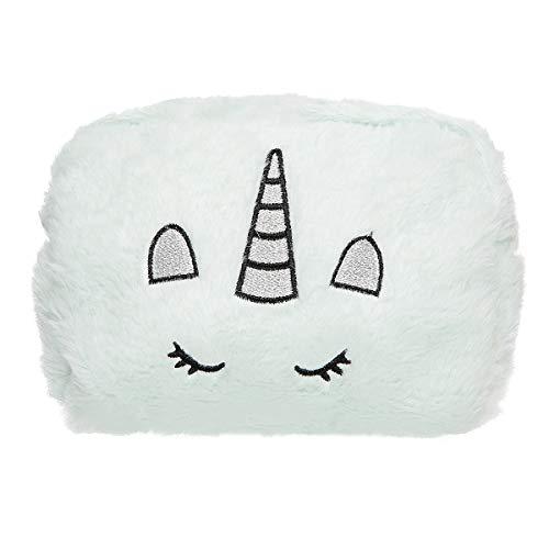 HUGMO Trousse de maquillage de voyage en peluche avec broderie de licorne et grande capacité Convient aux essentiels des femmes et filles Rose, violet, blanc, noir, bleu et vert, Vert (Vert)