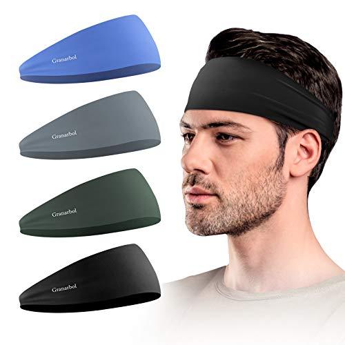 Granarbol Headbands for Men and Women(4 Pack), Non Slip Lightweight Mens Sweatband & Sports Headband for Running, Hiking,Yoga, Basketball, Stretchy Moisture Wicking Unisex Hairband