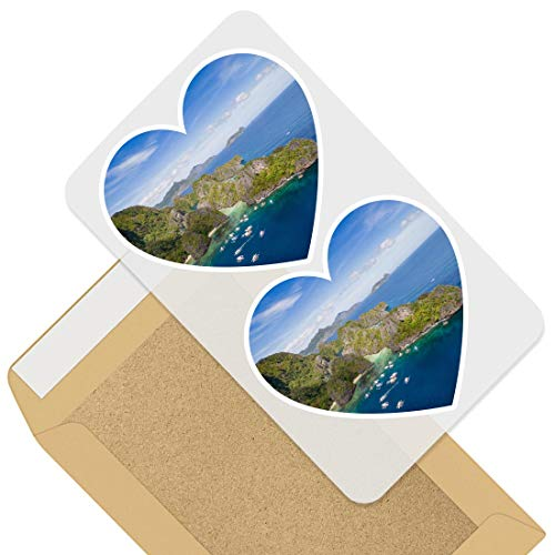 Awesome 2 x Heart Stickers 7.5 cm - El Nido Palawan Philippines Fun Decals for Laptops,Tablets,Luggage,Scrap Booking,Fridges,Cool Gift #44955