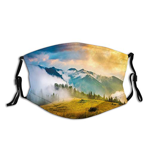 Rural Scenery Sunrise Misty Mountains Clouds Trees Wildgras Windproof Face Mask,Reusable,Washable Cloth,Face Cover,Cover for Men Women