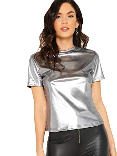 SOLY HUX Women's Casual Round Neck Short Sleeve Metallic Tee Shirts Tops Silver M
