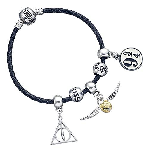 Harry Potter Pulsera negra con 3 cuentas de hechizos y 3 abalorios