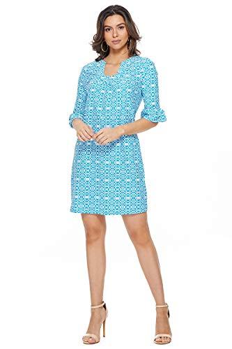 Aryeh Ladies Printed Dress (Large, Teal)