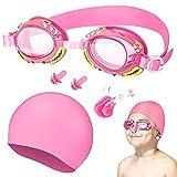 Oziral Gafas de natación para niños Profesional Vidrio de Natación Gafas de buceo con Gorro de natación clip nasal y tapones para los oídos Antiniebla