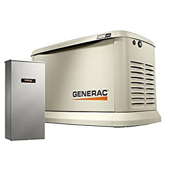 Generac 70432 Home Standby Generator Guardian Series 22kW/19.5kW Air Cooled with Wi-Fi and Transfer Switch Aluminum