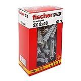 Fischer 542440Taco Izquierda, Gris, 8x 40mm, juego de 100piezas