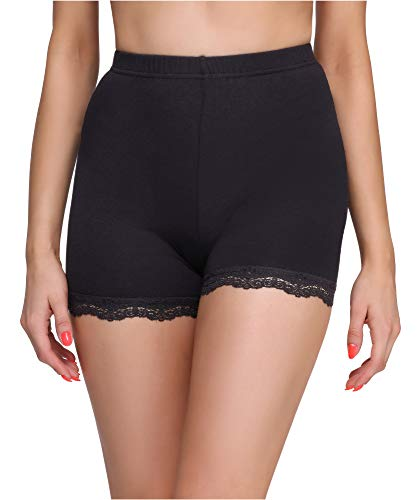 Merry Style Damen Shorts Radlerhose Unterhose Hotpants Kurze Hose Boxershorts aus Viskose MS10-294 (Schwarz, L)