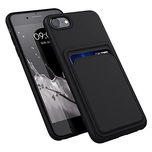 kwmobile Funda con Tarjetero Compatible con Apple iPhone 7/8 / SE (2020) - Carcasa Protectora de TPU Suave - Negro