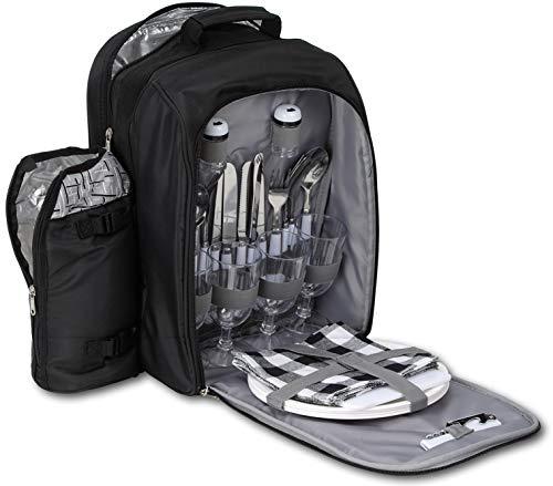 Brubaker Picknickrucksack für 4 Personen Schwarz Silber 27 × 38,5 × 21 cm - inkl. Kühlfach + Iso-Flaschenhalter