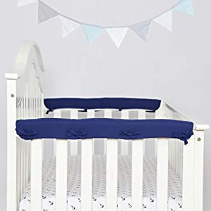"""crib bedding and baby bedding tillyou 2-pack padded baby crib rail cover protector safe teething guard wrap for narrow side crib rails(measuring up to 8"""" around), 100% silky soft microfiber polyester, reversible, navy/pale gray"""