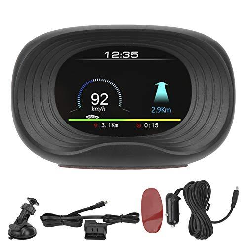 Yctze Head Up Display Universale per Auto, Head Up Display OBD2 + GPS HUD Proiettore Allarme di Tensione di Sovravelocità con Cane Elettronico (Nero)
