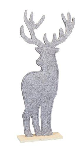 Time for Home Weihnachtsdeko Filz Hirsch grau 52 cm Weihnachtsbaum Weihnachtsfigur Filzdeko Weihnachten Deko Herbstdeko ausgefallen modern