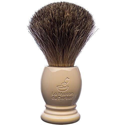 La Maison du Barbier Blaireau Blanc Nacré - Poils Pur Gris Taille 12-100% Fabriqué en France