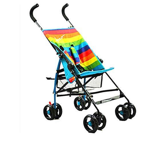 Cochecito de bebé plegable con diseño de rayas de verano, ligero, práctico cochecito de bebé plegable, fácil de plegar FDWFN