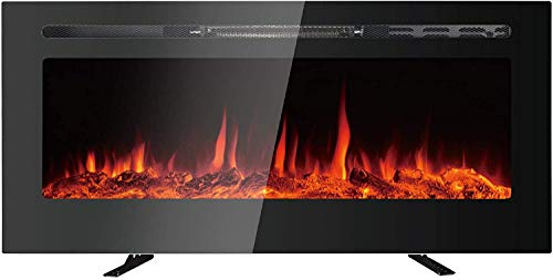 """MAXXPRIME 40"""" Electric Fireplace, Free Standing, Recessed and Wall Mounted Fireplace Insert Heater with Touch Screen Control Panel, Faux Fire Log & Crystal Options, 9 Flamer Color, 750/1500W"""