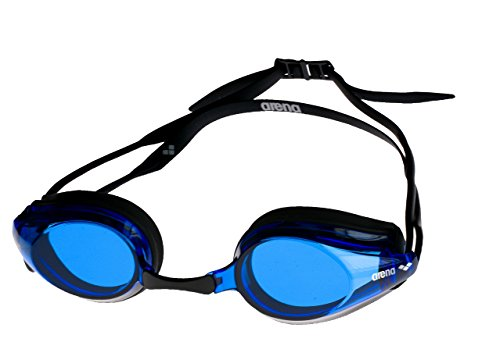 arena Unisex Training Wettkampf Profi Schwimmbrille Tracks (UV-Schutz, Anti-Fog Beschichtung, Harte Gläser), Black-Blue-Black (57), One Size