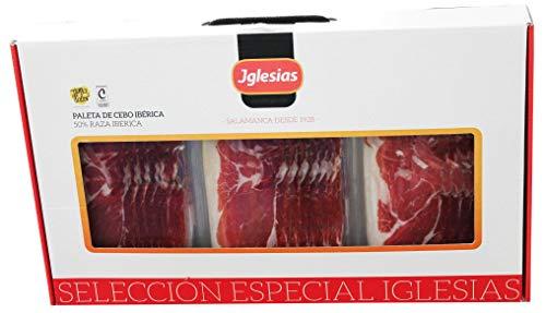 IGLESIAS - Maletín Paleta de Cebo Ibérica (50% Raza Ibérica) 1.5 kg Loncheada (15 Sobres de 100g/Unidad) + 0.48 Kg Huesos Troceados