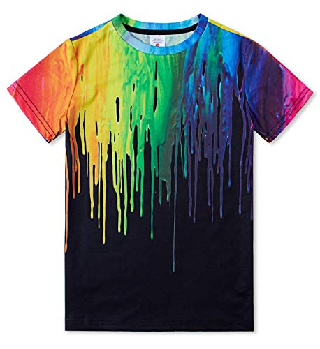 Boys Girls 6t Fashion Tie Dye Short Sleeve T Shirt 3D Graphic Watercolor Rainbow Paint Tops Tee for School 6-8 Years