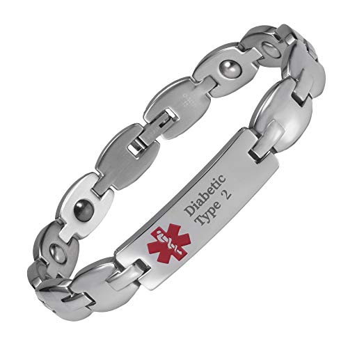 YINOX Pulsera de Alerta médica para Hombre Mujer Acero Inoxidable Personalizada (Diabética Tipo 2).