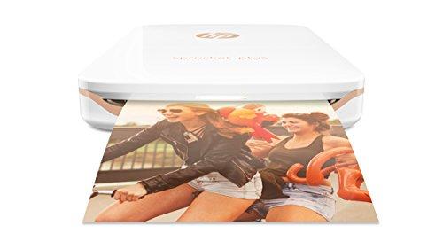 HP Sprocket Plus Mobiler Fotodrucker (Drucken ohne Tinte, Bluetooth, 5,8 x 8,7 cm Ausdrucke) weiß
